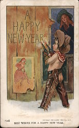 Best Wishes For A Happy New Year - child playing cowboy shoots words A HAPPY NEW YEAR into the wall