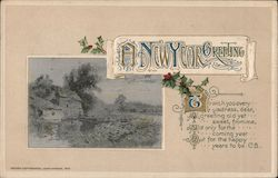 A New Year Greeting -- poem and old photo of house