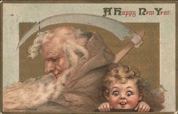 A Happy New Year - Father Time and Wide-Eyed Baby New Year