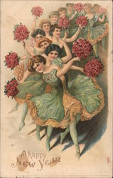 A Happy New Year: Ballerinas dance with rose bouquets in their hands