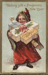 Wishing You a Prosperous New Year: Child carrying presents