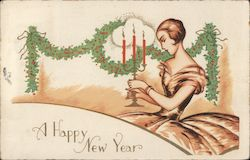 A Happy New Year - A Woman Holding Candles