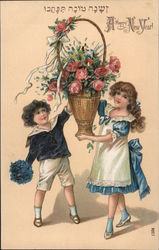 Happy New Year - A Boy and Girl Holding Flowers