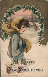 Woman Going to Skate on Pond Postcard