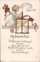On January First - Little girl lighting candle