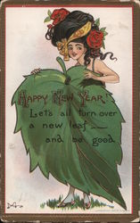 Happy New Year - A Woman Hiding Behind a Large Leaf Postcard