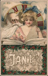 Jan. 1st. - Father Time looks over shoulder of beautiful lady turning pages