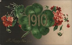 A Happy New Year - Date, Four Leaf Clover and flowers Postcard