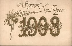Happy New Year 1908 - with drawing of flowers and bells