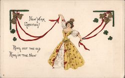 New Year Greeting - Woman, Bells and Four Leaf Clovers Postcard