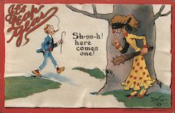 "It's Leap Year - masked lady behind tree waits with club, man strides by. ""Sh-ss-h! Here comes one!"""