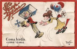 "It's Leap Year - cartoon of man trying to fly away from woman. ""Come, birdie, come to me."""