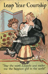 Leap Year Courtship - Woman Holding Fat Man on Lap
