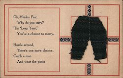 Rhyme Aimed for Women about Leap Year and Marriage Decorated with Fabric Pants applique