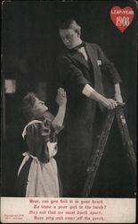 Leap Year 1908 - man on ladder, woman speaks to him from below (in poem)