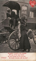 Leap-Year 1908 - photo of woman speaking to man in a wagon