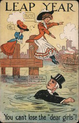 Leap Year - cartoon of women leaping into the water to join man already in the water