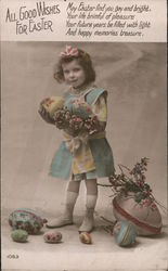 All Good Wishes For Easter - Colorized Photo Girl Holding Large Eggs