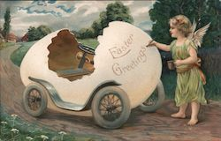Easter Greetings - fairy painting Easter Greetings on car made out of an egg shell Postcard