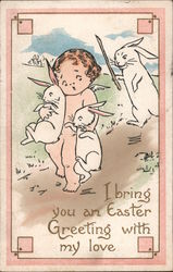 Easter Greetings - Naked Angel Child Carrying Bunnies away from Bunny Chasing after Him