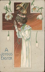 A Joyous Easter - woman in pretty gown with flowers around her