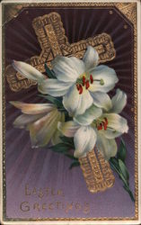 Easter Greetings - cross with flowers