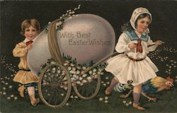 With Best Easter Wishes - children pulling a cart consisting of an egg