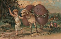 A Joyful Easter - A Child and a Lamb