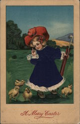 A Merry Easter - Girl with Baby Chicks