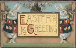 Two Easter Bunnies Blowing Horns: Easter Greeting
