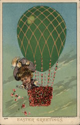 Easter Greetings - Girl Throwing Flowers from Hot Air Baloon