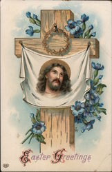 Easter Greetings - Jesus pictured on cloth, cloth nailed to cross.