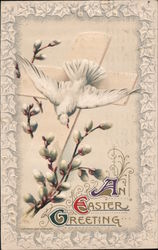 An Easter Greeting-White bird on a cross with pussywillows around it.