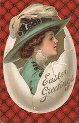 Easter Greetings-Woman all dressed up for Easter in a cracked egg.