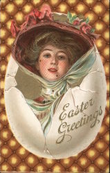 Easter Greetings - Woman in fancy hat partly inside eggshell