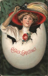 Easter Greetings - Woman Coming out of Egg