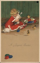 A Joyous Easter - little girl with bunnies, chicks, and eggs