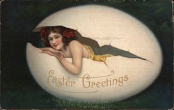 Woman Coming Out of Egg Shell: Easter Greetings