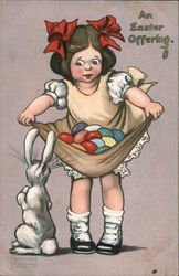 An Easter Offering - Girl Holding Eggs in Dress while Bunny Looks