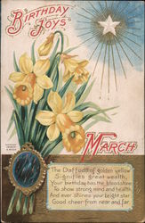 Birthday Joys: March: Daffodils Postcard