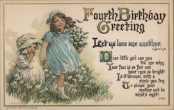 Fourth Birthday Greeting Let us love one another Dear little