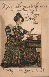 Birthday wishes - woman in elegant dress at writing desk promises to keep your real age a secret