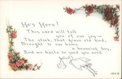 "Birth announcement -- ""He's Here!"" with drawn stork and flowers Postcard"