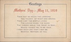 Mothers Day Greetings - Chicago YMCA War Service
