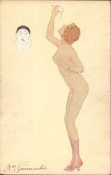 La Gourmandise Nude Woman And Pierrot Postcard