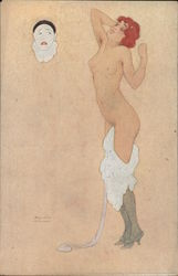 Pierrot With A Nude Woman Postcard