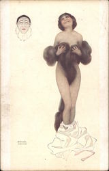 La Luxure [The Lust] - Woman wearing a fur wrap with dress around ankles, Pierrot Postcard