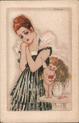 Sad Woman looking at mean Cupid who is holding heart next to himself Postcard