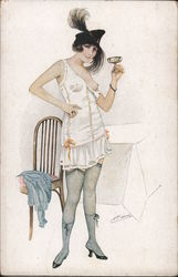 Woman in party outfit toasts with a drink. Has one breast exposed.