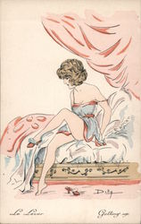 "Woman in Negligee ""Getting up"" Postcard"